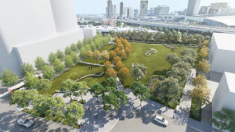 Construction underway for Fishermans Bend's first new park