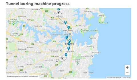 Sydney Metro's new tunnel boring machine tracker
