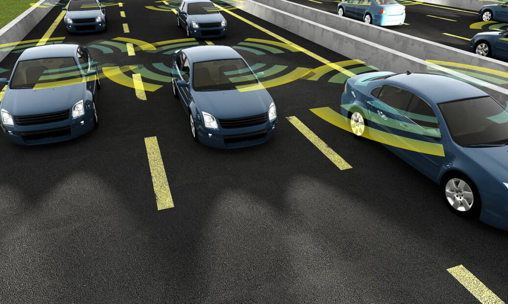 ITS Summit 2019 Autonomous cars on a road with visible connection