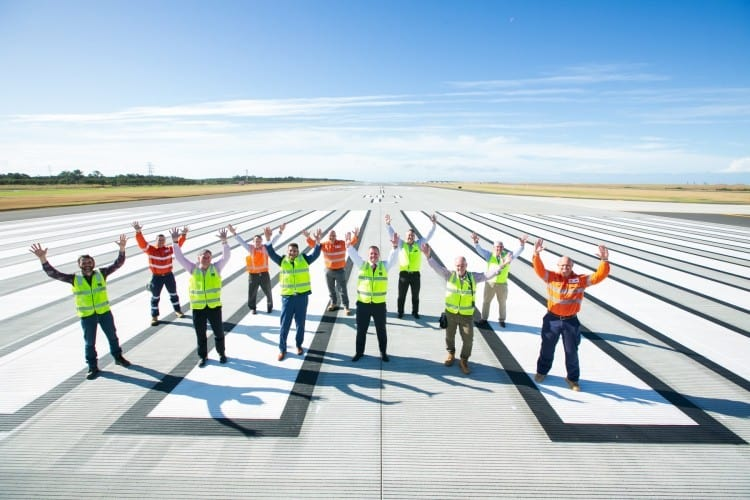 Brisbane Airport staff on new runway
