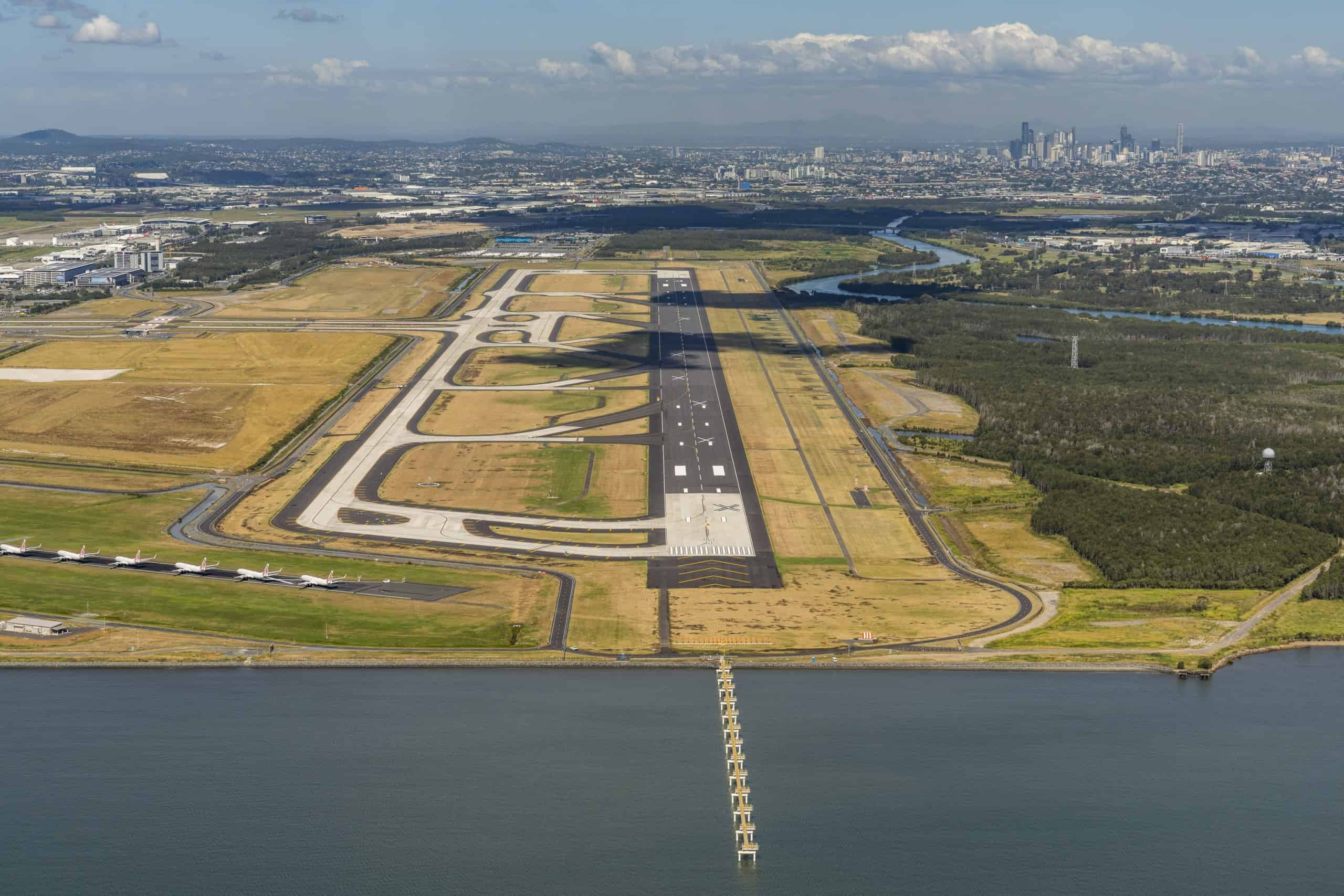 Brisbane Airport new runway aerial shot