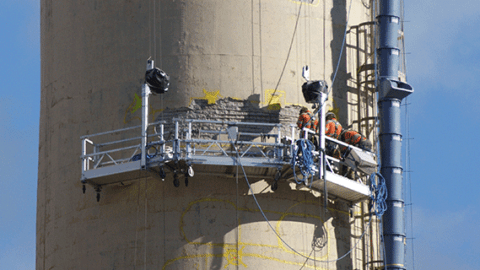 Sky Climber Swing Stages help repair power station